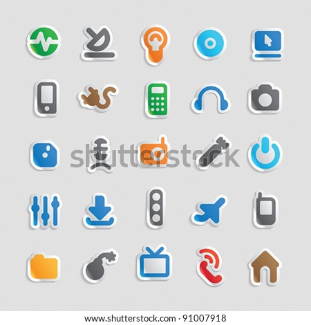 Sticker button set. Icons for technology and industry. Vector illustration.