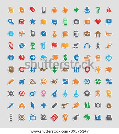 Sticker button set. 100 multicolored icons for business, entertainment and education. Vector illustration. - stock vector