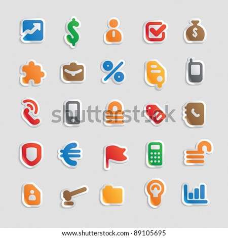 Sticker button set. Multicolored icons for business, finance and security. Vector illustration. - stock vector