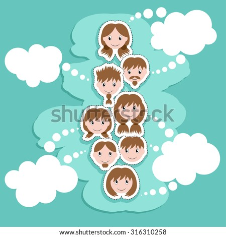 sticker faces set - positive cartoon boys and girls in paper flat style. Comic people icons collection. - stock vector