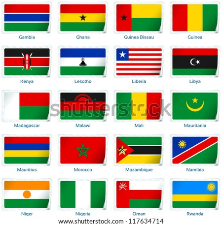 Sticker flags Africa (2 of 3). Vector illustration: 3 layers:  �· shadows  �· flat flag (you can use it separately)  �· sticker. Collection of 220 world flags. Accurate colors. Easy changes. - stock vector