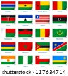 Sticker flags Africa (2 of 3). Vector illustration: 3 layers:  �· shadows  �· flat flag (you can use it separately)  �· sticker. Collection of 220 world flags. Accurate colors. Easy changes. - stock photo