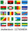 Sticker flags Africa (1 of 3). Vector illustration: 3 layers:  * shadows  * flat flag (you can use it separately)  * sticker (with transparencies). Collection of world flags. Accurate colors. - stock photo