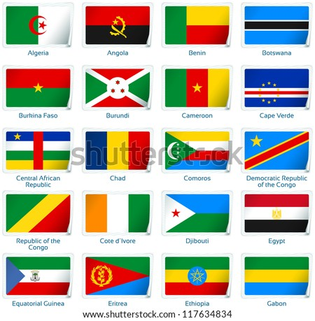 Sticker flags Africa (1 of 3). Vector illustration: 3 layers:  * shadows  * flat flag (you can use it separately)  * sticker (with transparencies). Collection of world flags. Accurate colors.