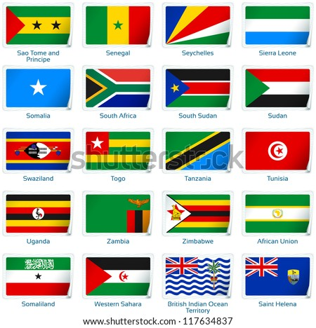 Sticker flags Africa (3 of 3). Vector illustration: 3 layers:  * shadows  * flat flag (you can use it separately)  * sticker (with transparencies). Collection of 220 world flags. Accurate colors.