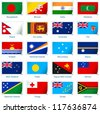 Sticker flags: South Asia and Oceania. Vector illustration: 3 layers:  �· shadows  �· flat flag (you can use it separately)  �· sticker. Collection of 220 world flags. Accurate colors. Easy changes. - stock photo
