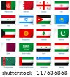Sticker flags: Western Asia. Vector illustration: 3 layers:  �· shadows  �· flat flag (you can use it separately)  �· sticker. Collection of 220 world flags. Accurate colors. Easy changes. - stock photo