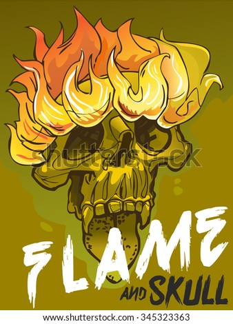 Sticker. Flame and skull.