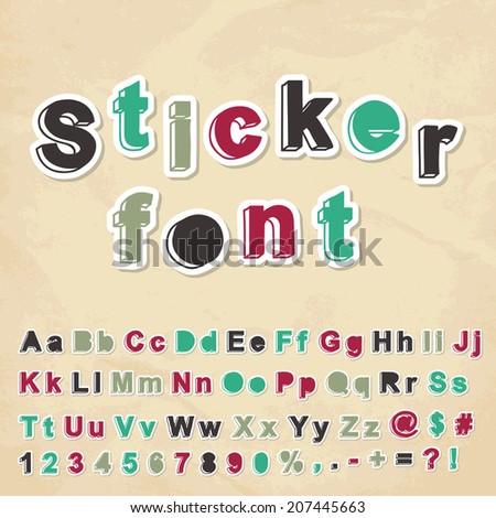 Sticker font. Vector illustration.