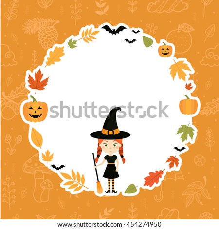 Sticker for Halloween. Autumn, Fall. Pretty girl in witch costume. Vector illustration.