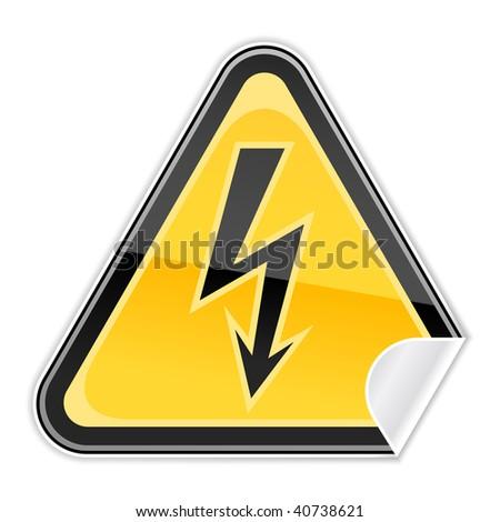 Sticker hazard warning sign with high voltage symbol on white background - stock vector