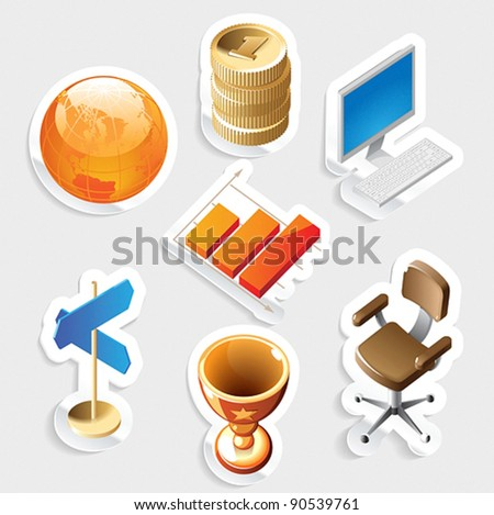 Sticker icon set for business and money.  Vector illustration. - stock vector