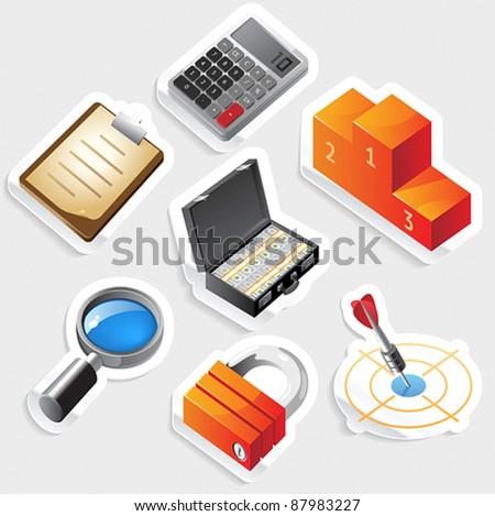 Sticker icon set for business and success.  Vector illustration. - stock vector