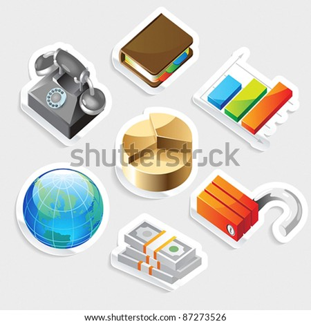 Sticker icon set for business metaphors.  Vector illustration. - stock vector