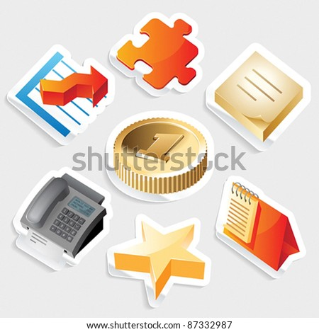 Sticker icon set for business symbols.  Vector illustration. - stock vector