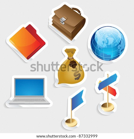 Sticker icon set for business.  Vector illustration. - stock vector