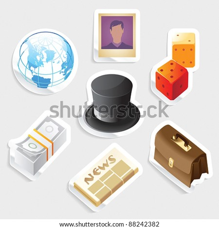 Sticker icon set for global business.  Vector illustration. - stock vector