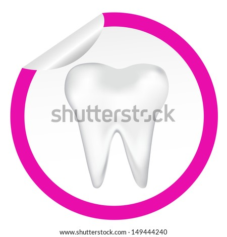 sticker icon web button with tooth. EPS10 illustration  - stock vector