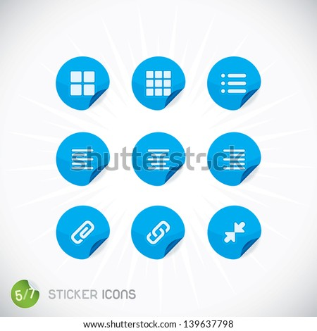 Sticker Icons, Symbols, Buttons, Sign, Emblem, Logo for Web Design, User Interface, Mobile Phone, Baby, Children, People - stock vector