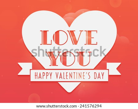 Sticker, label or tag with text Love You, Happy Valentine's Day celebration on romantic colorful background. - stock vector