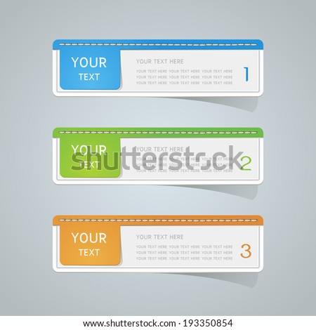Sticker label paper colorful set - stock vector