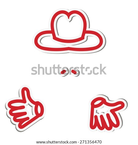 Sticker man with finger up in a hat and with a mustache - stock vector