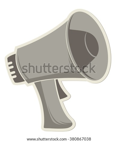 sticker megaphone on white background - stock vector