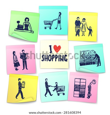 Sticker note style supermarket cards with cashier shopping cart counter delivery man grocery and happy family vector illustration - stock vector
