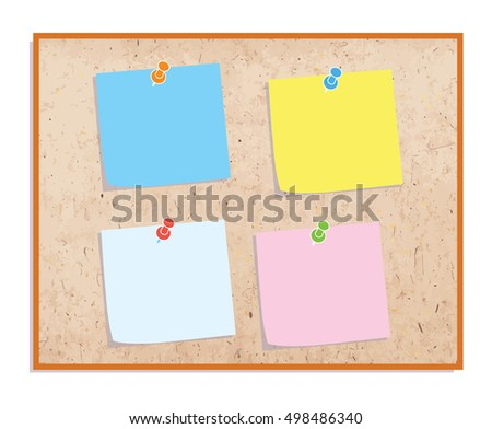 Sticker notes on the board. Sicky paper on bulletin board Vector illustration