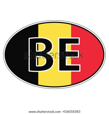 Sticker on car flag kingdom belgium with the inscription be vector for print or website