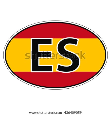 Sticker on car flag kingdom spain with the inscription es vector for print or website
