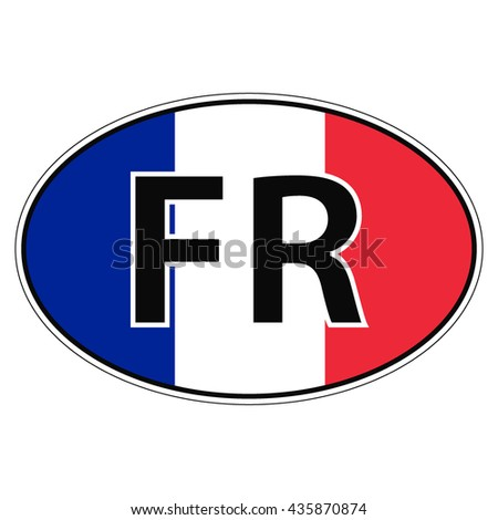 Sticker on car, flag of France, French Republic with the inscription FR vector for print or website design for language buttons - stock vector