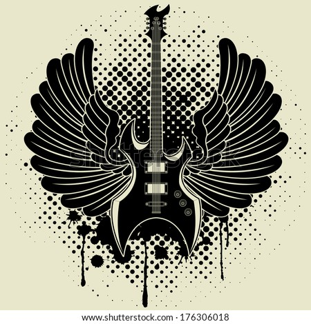 Sticker on the shirt the image of a guitar of wings  - stock vector