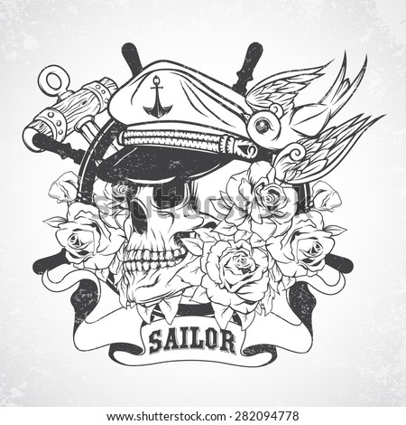Sticker on the shirt with a nautical theme. Vector. - stock vector