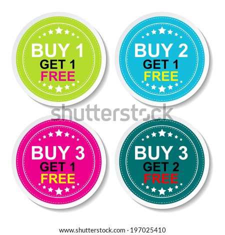 Sticker or Label For Marketing Campaign, Buy 1 Get 1 Free, Buy 2 Get 1 Free, Buy 3 Get 1 Free and Buy 3 Get 2 Free With Colorful Icon. - stock vector