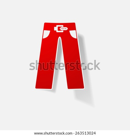 Sticker paper products realistic element design illustration pants - stock vector