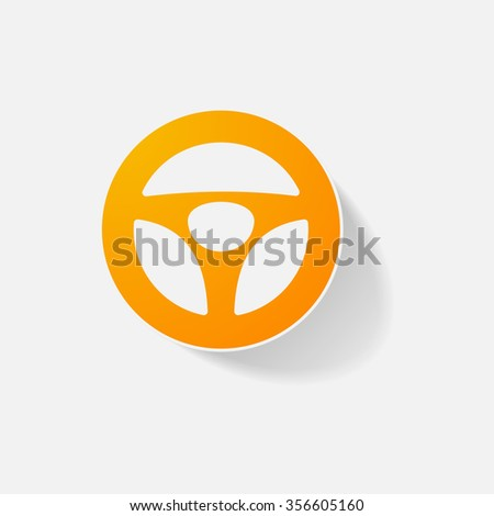 Sticker paper products realistic element design illustration steering wheel - stock vector