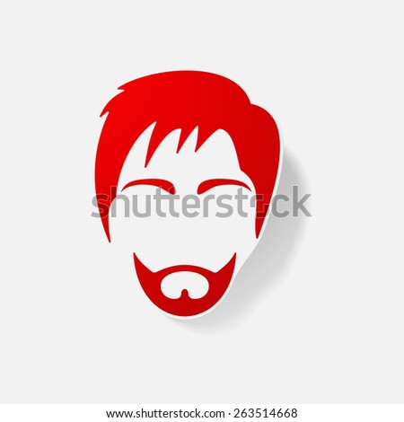 Sticker paper products realistic element design illustration the man - stock vector