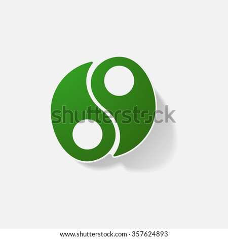 Sticker paper products realistic element design illustration Yin Yang