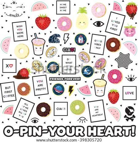 Sticker pin different color Sticker Pin trendy label patch sticker vector illustration decor decoration fashion black white quote - stock vector