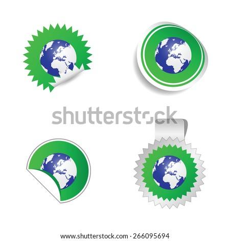 sticker planet green color vector - stock vector
