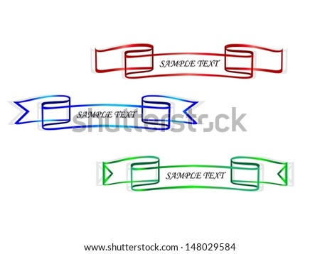 Sticker ribbons - stock vector