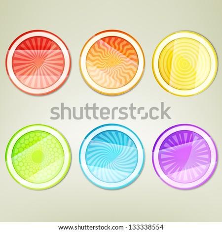 Sticker round emblem bent into three part label, eps10 vector design collection element set - stock vector