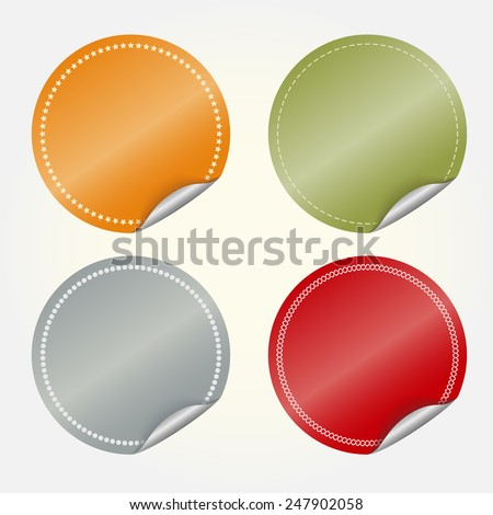 Sticker set, colored blank round stickers, vector sticker collection, sticker picture, discount stickers set, sticker for sale illustration - stock vector