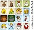 sticker set holidays for easter, christmas, halloween and Oktoberfest - stock vector