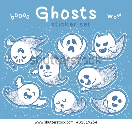 Sticker set of cute cartoon ghosts with different facial expressions.