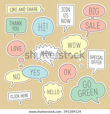 Sticker speech bubbles / callouts set with different messages on kraft paper background. Vector illustration - stock vector