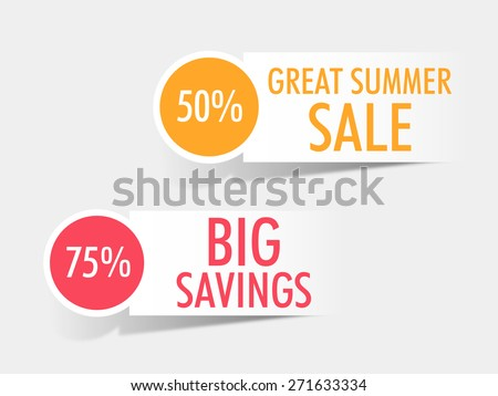 Sticker, tag or label of Summer Sale with big discount offers on grey background. - stock vector