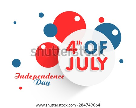 Sticker, tag or label on abstract national flag color background for 4th of July, American Independence Day celebration. - stock vector