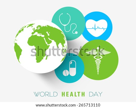 Sticker, tag or label with medical tools, sign, medicine and globe for World Health Day concept. - stock vector
